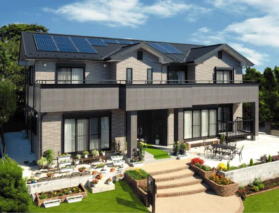間口の広さを活かした太陽光発電の家